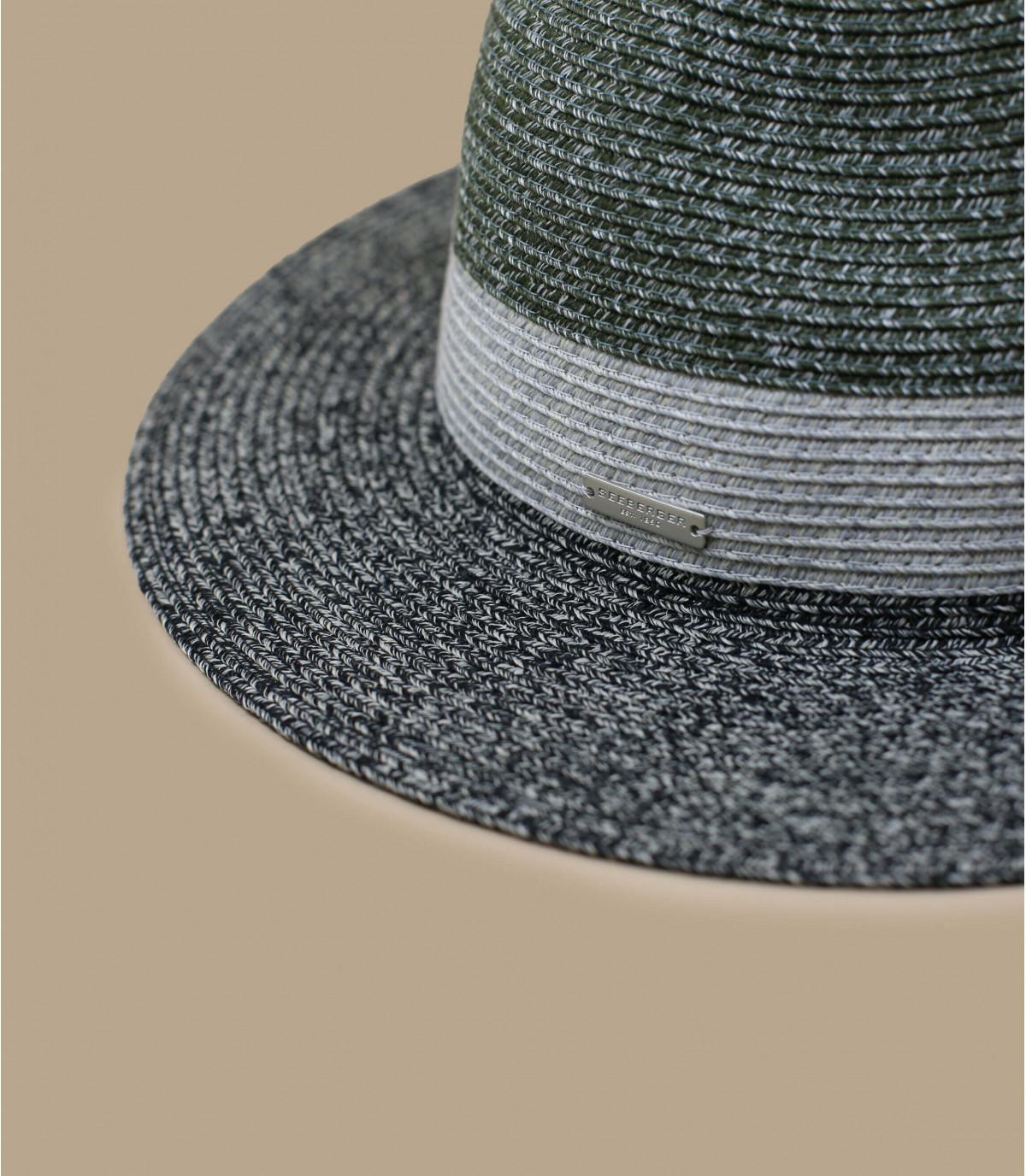 sombrero paja negro raya gris
