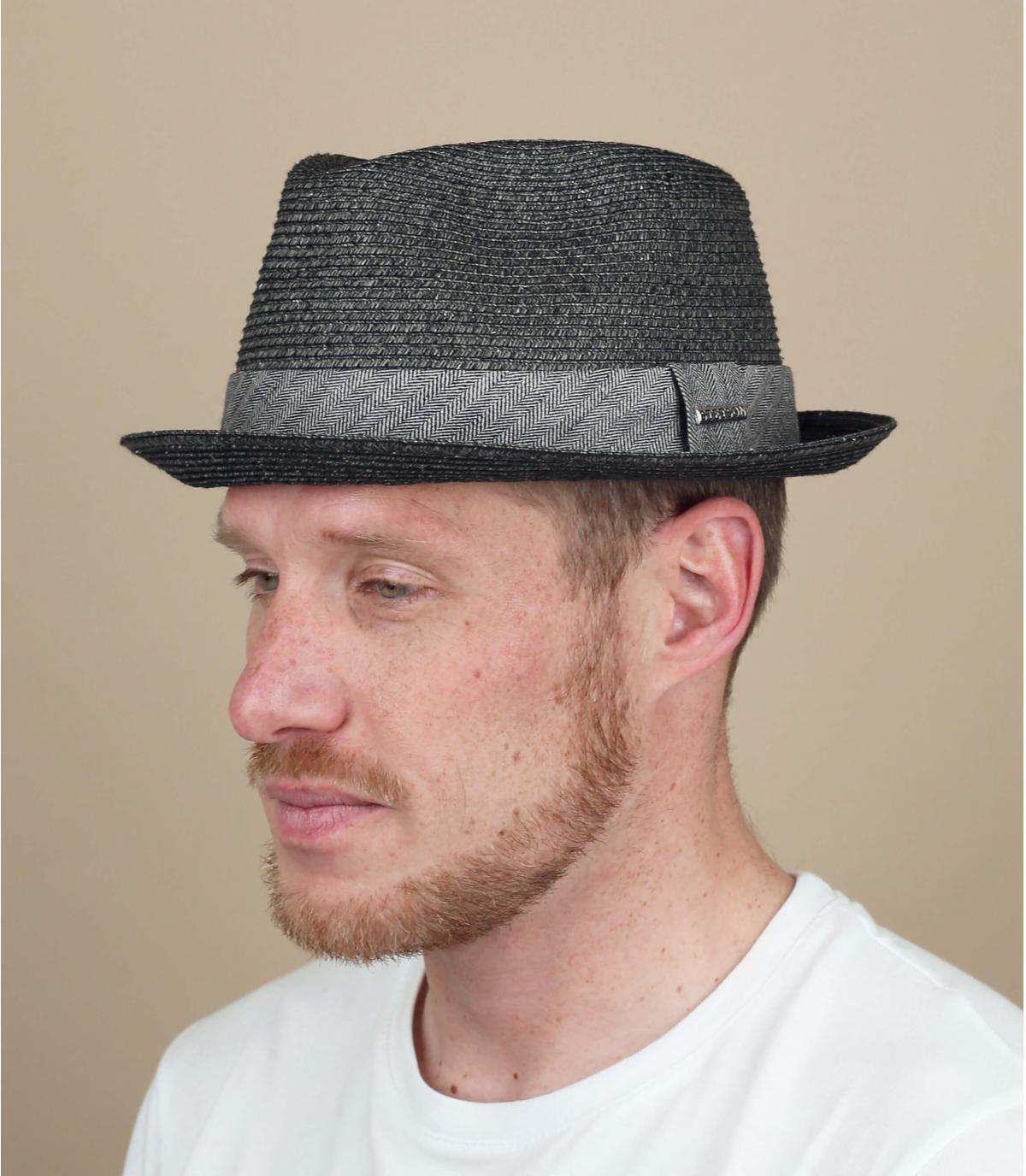 Sombrero paja negro gris hombre