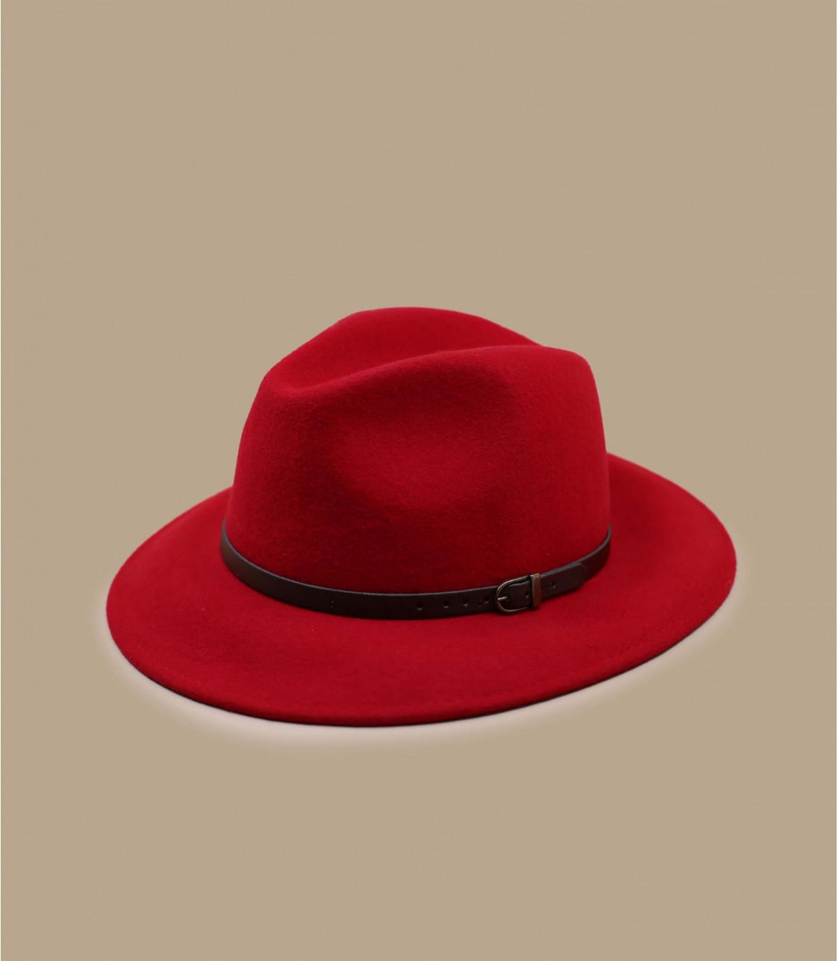 fedora rojo lana