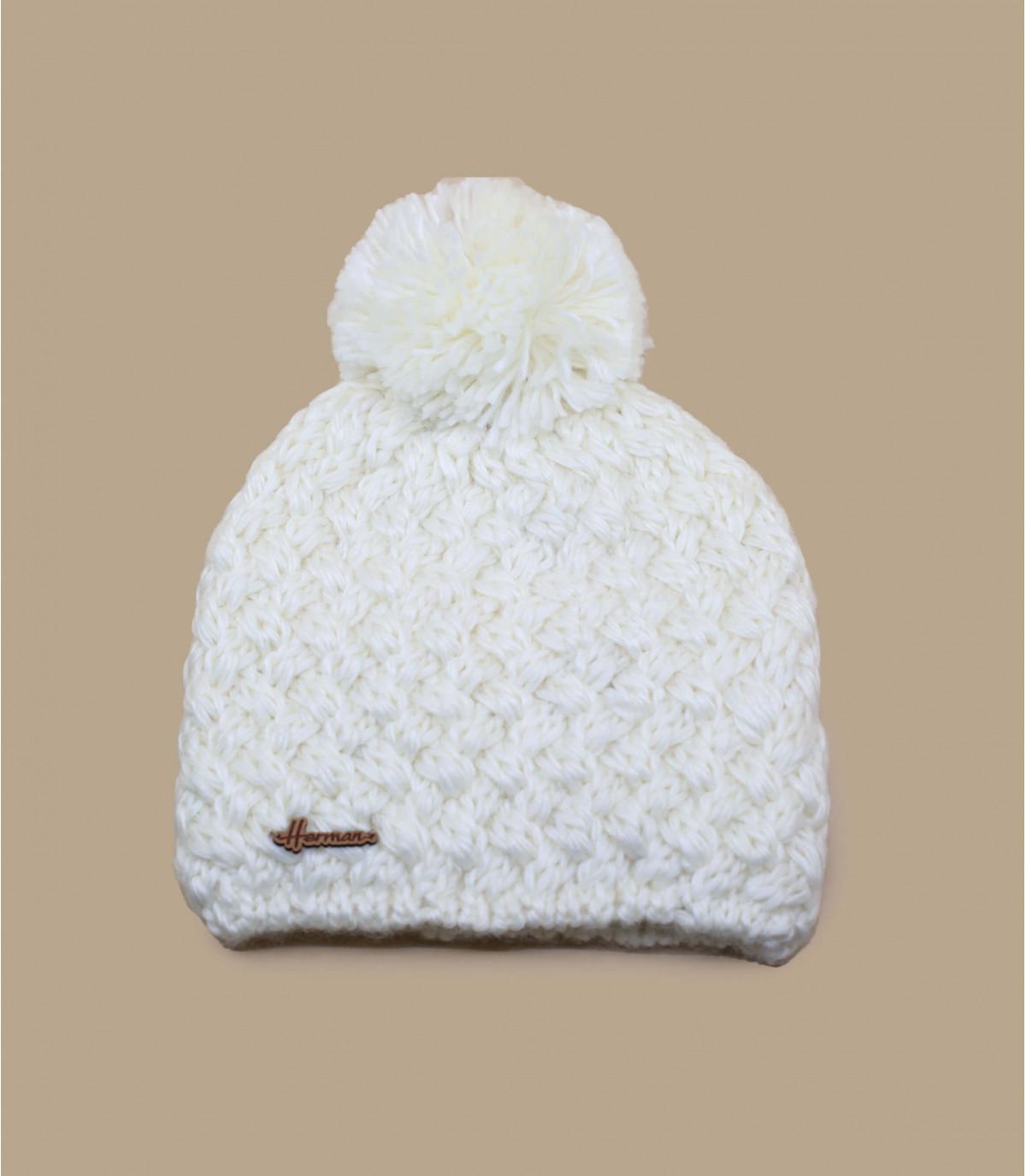 borla de lana gorro blanco