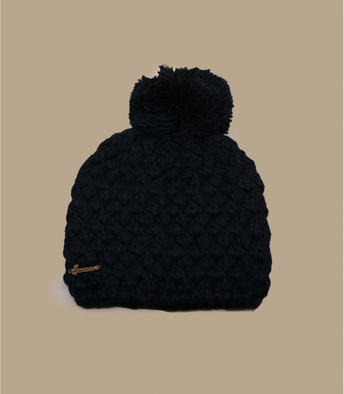 lana negro gorro borla