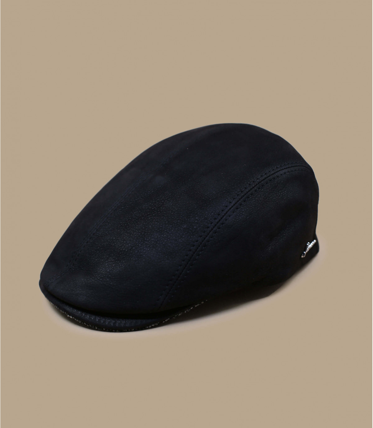boina de cuero negro Herman