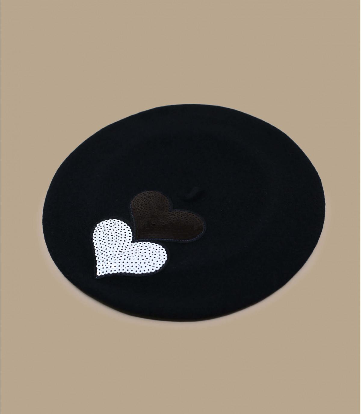 boina corazón de lentejuelas negro