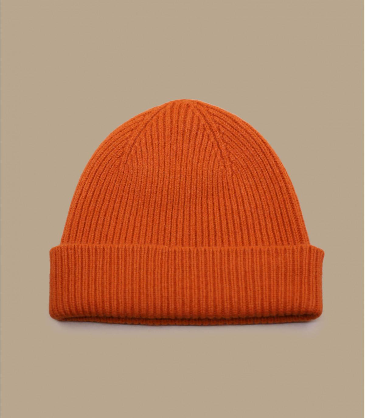gorro de la solapa de angora de color naranja