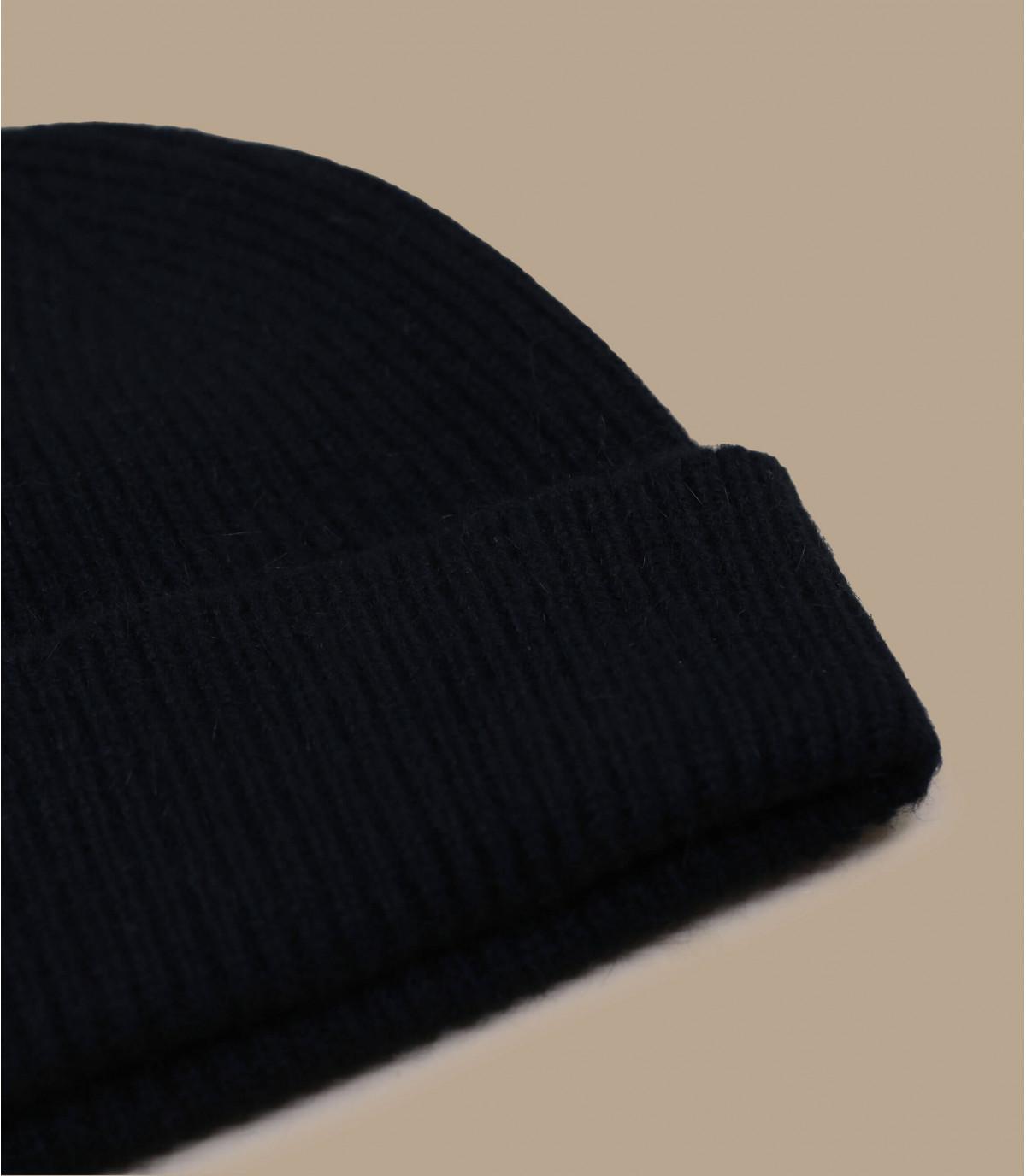 lana de angora gorro revés negro
