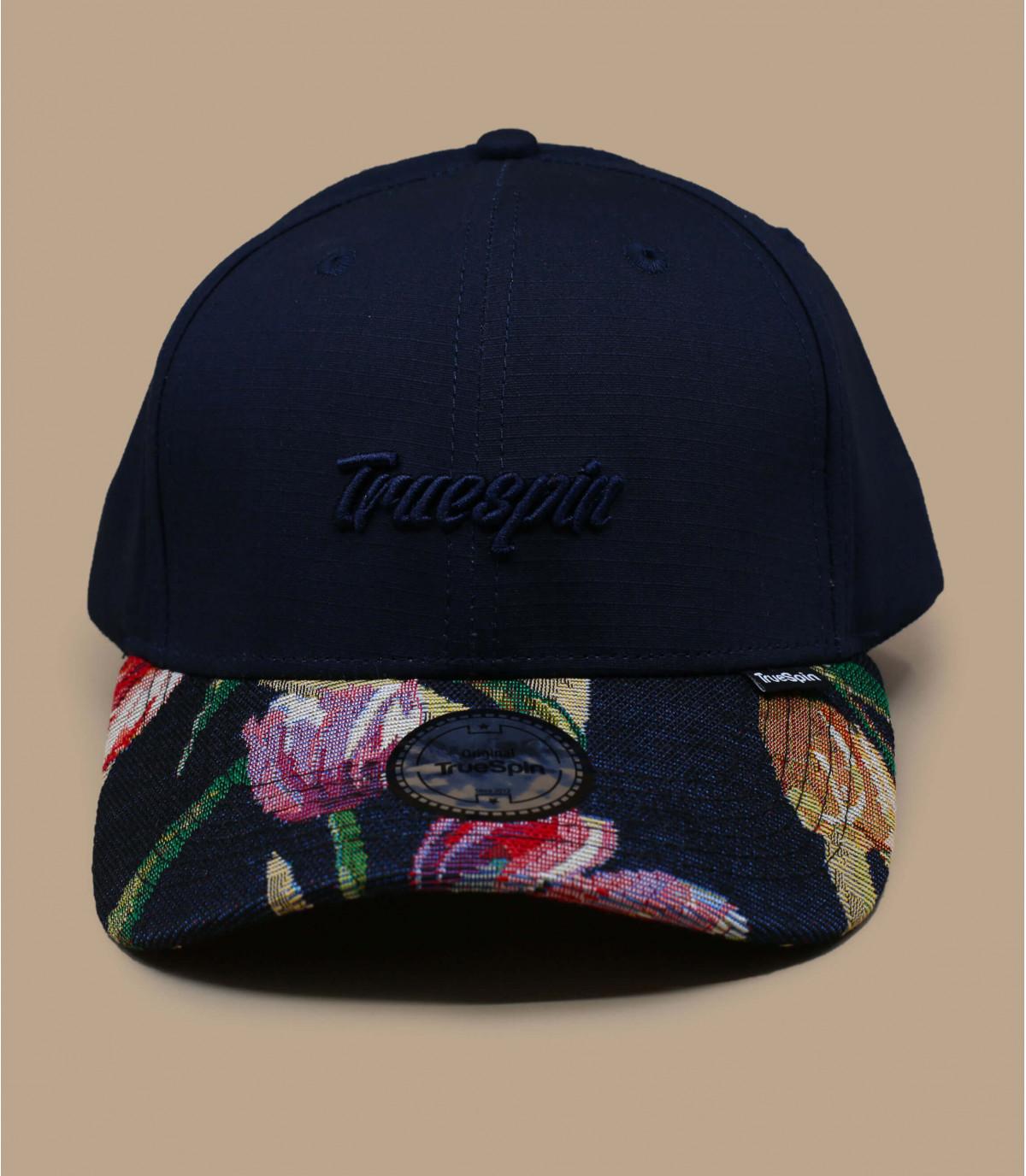 gorra azul marino visera flores
