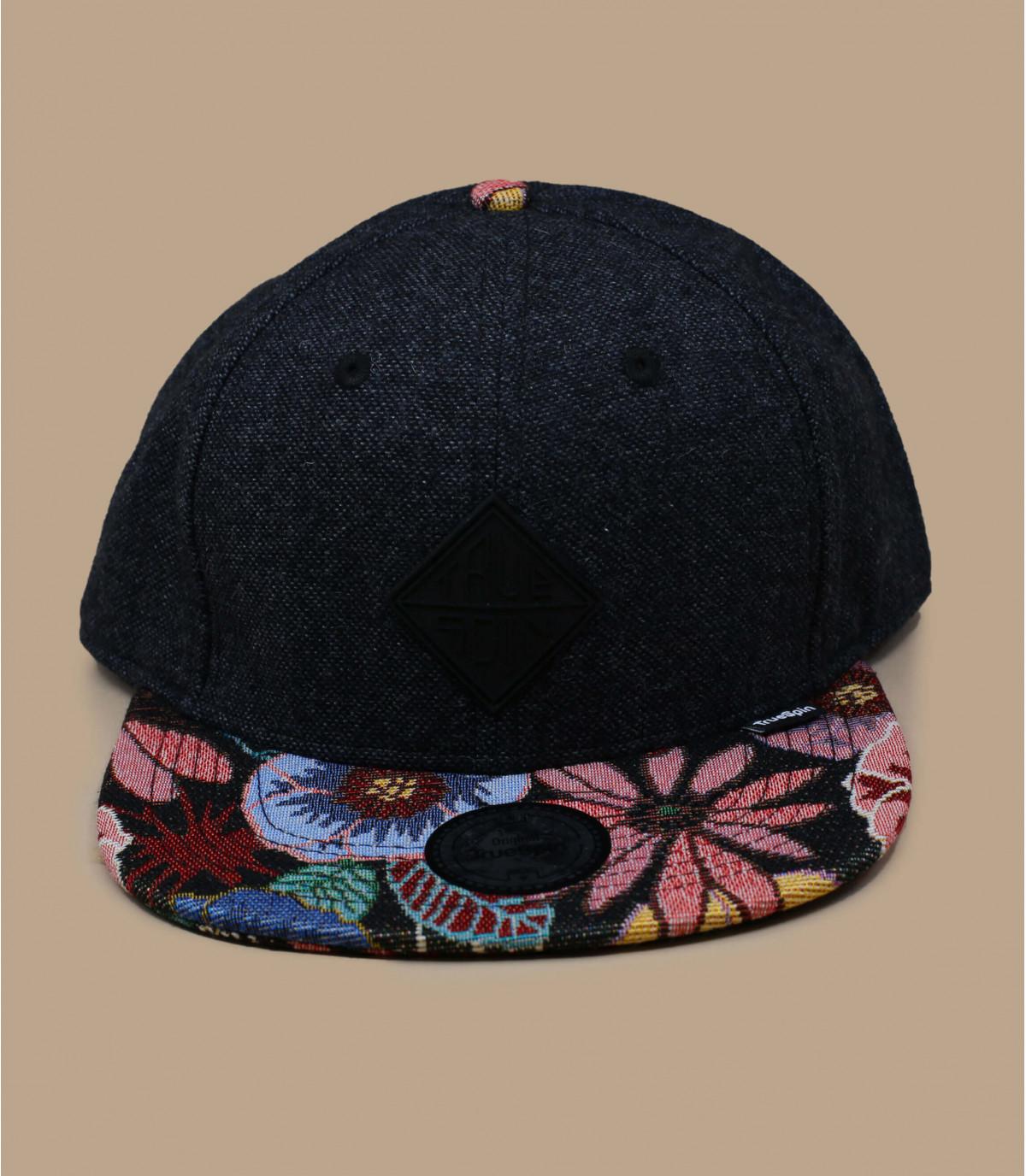 snapback negro visera flores