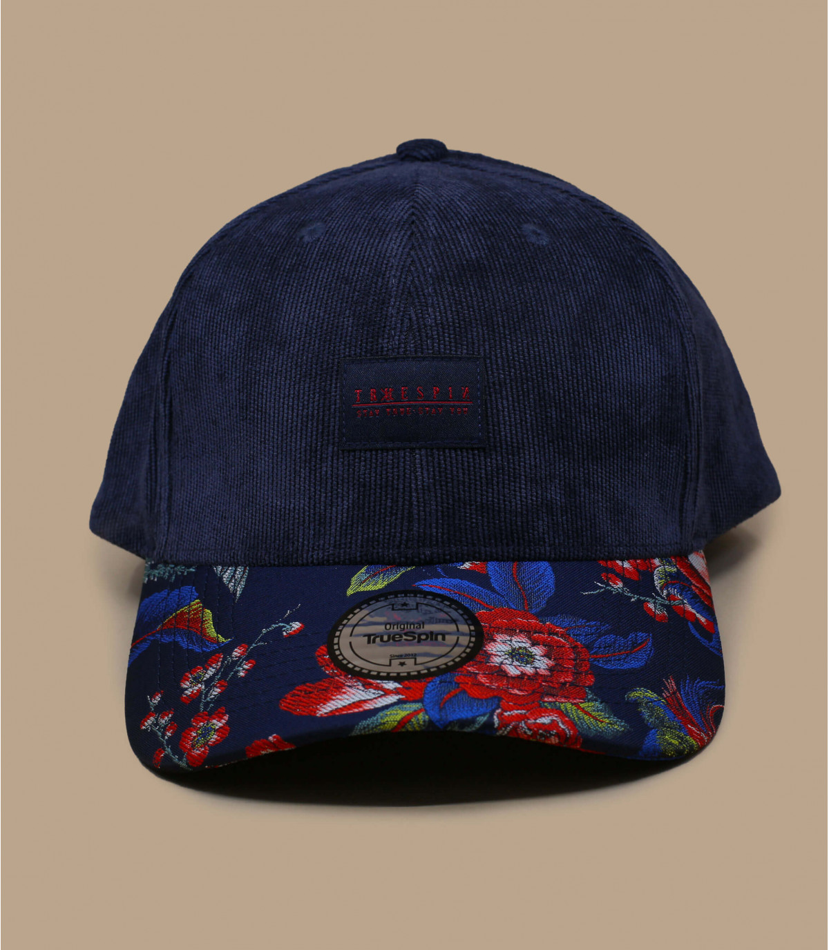 gorra pana azul flores