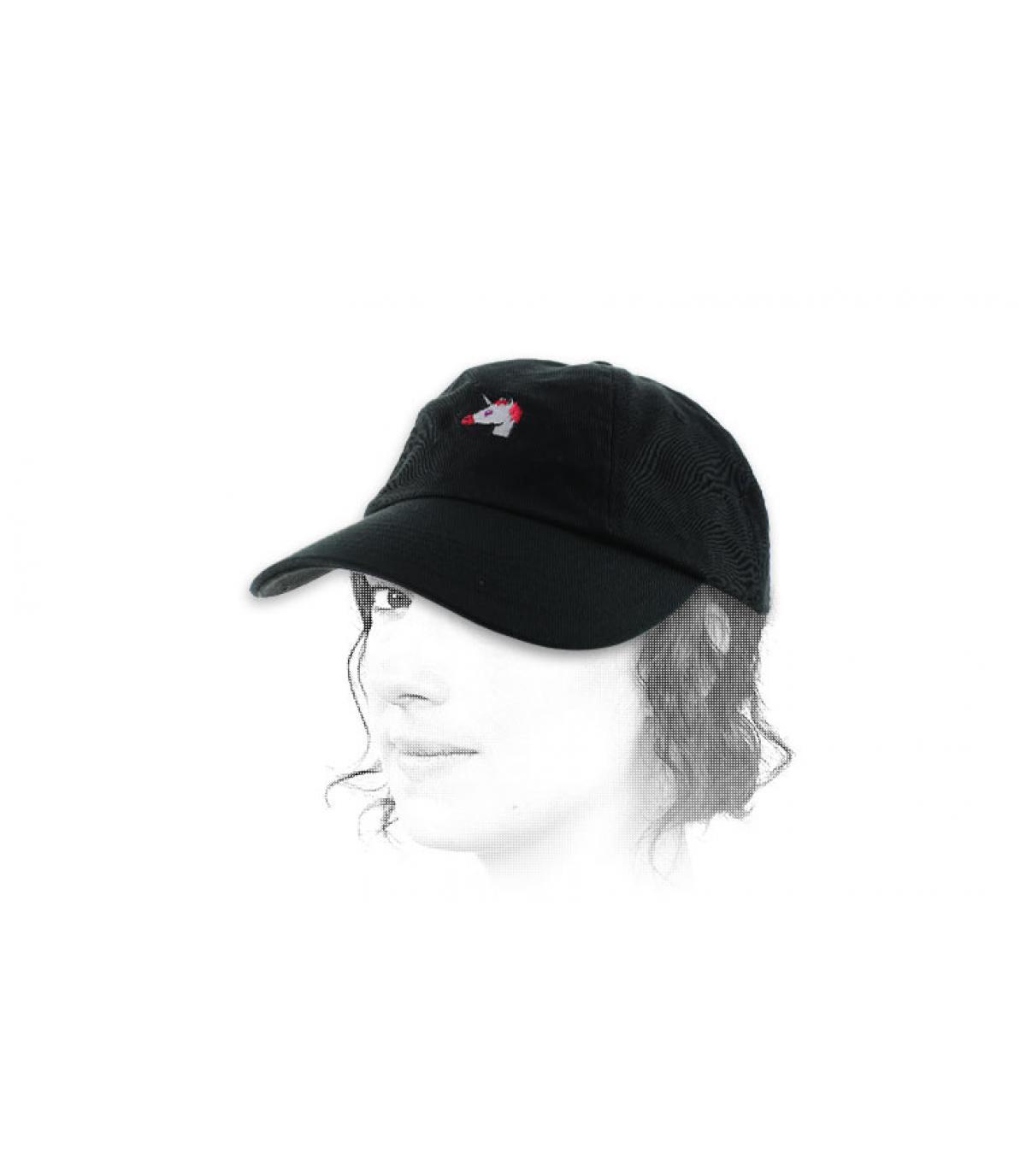 negro gorra de unicornio