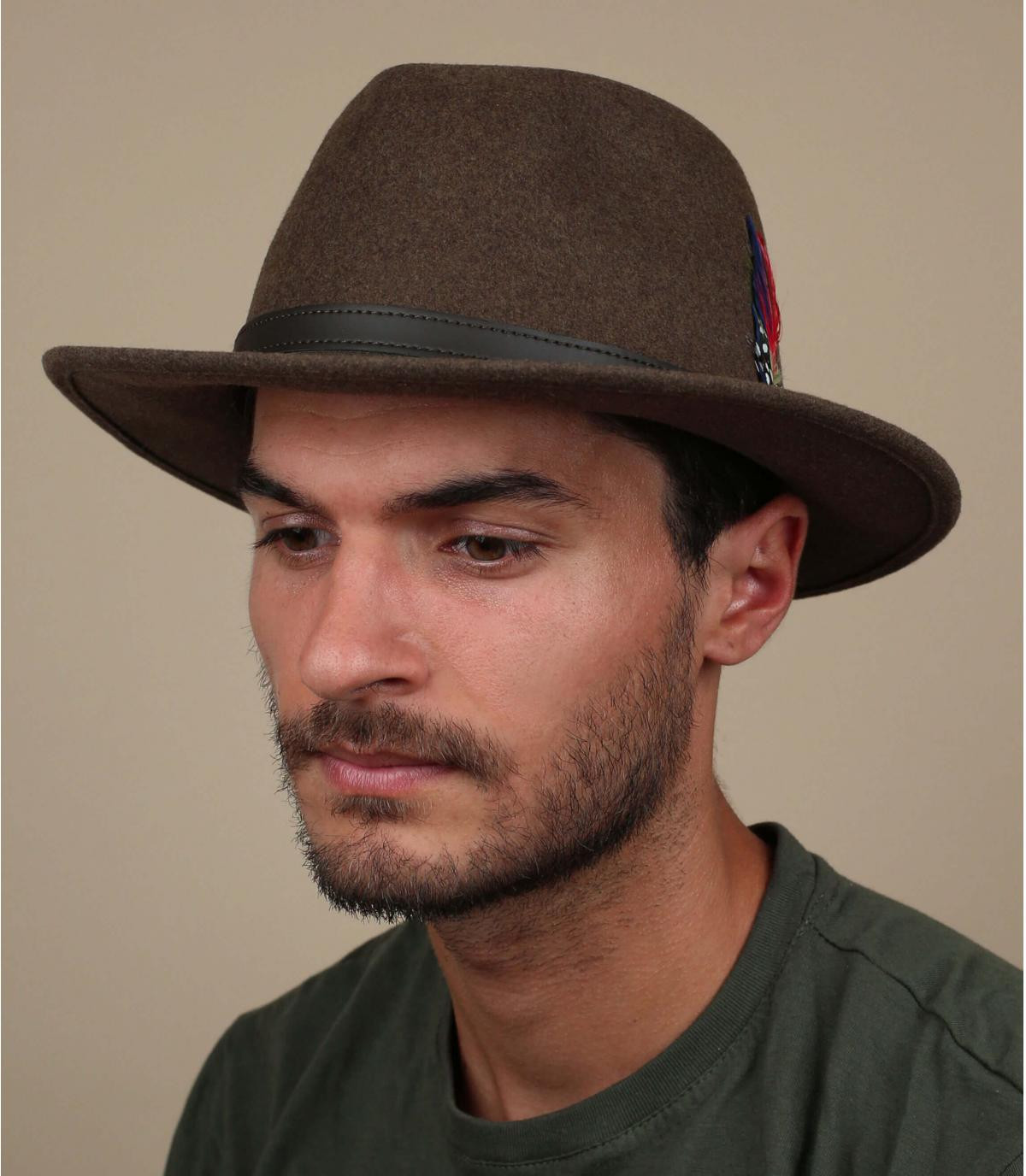 lana sombrero de fieltro marrón