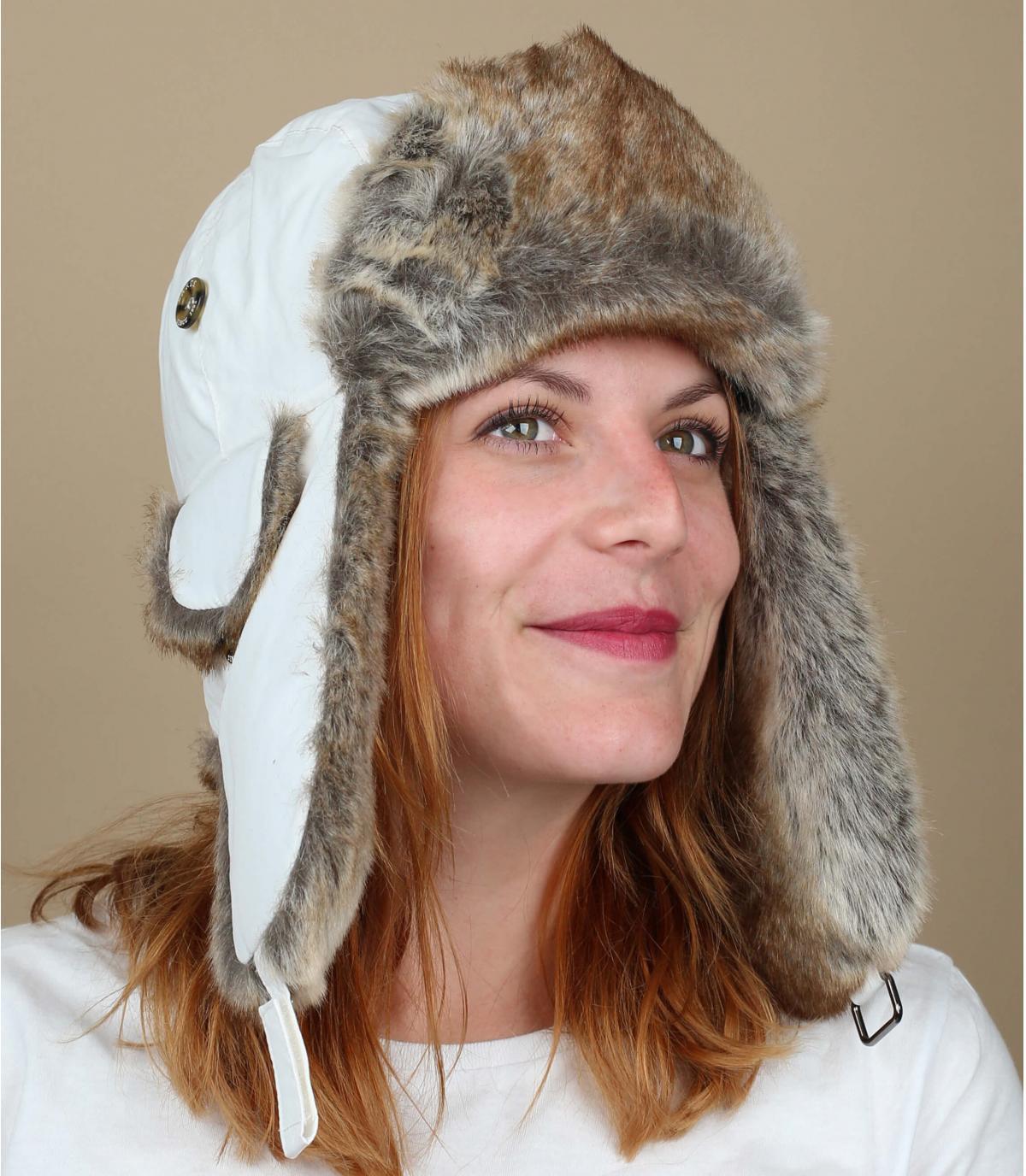 Gorro ruso blanco mujer