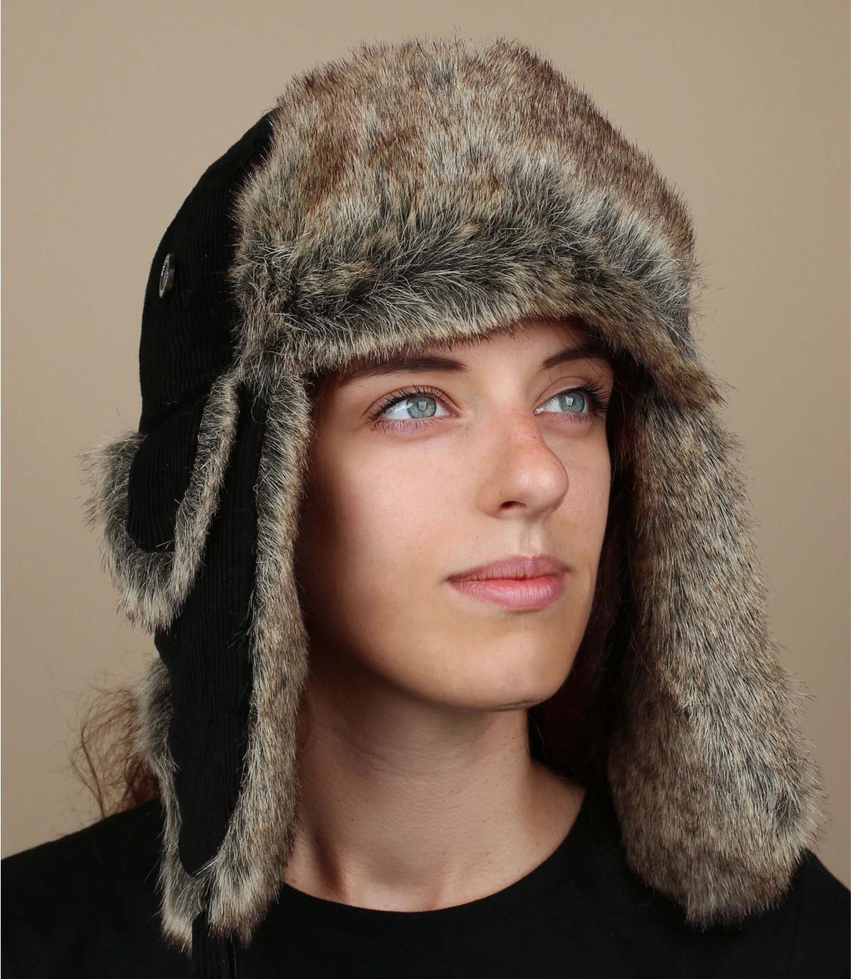 Gorro ruso mujer negro