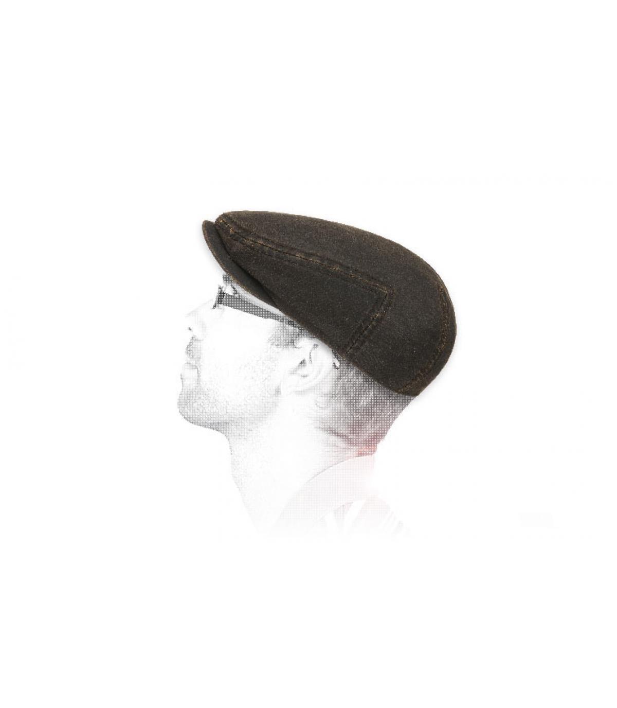 algodón plana gorra marrón engrasado