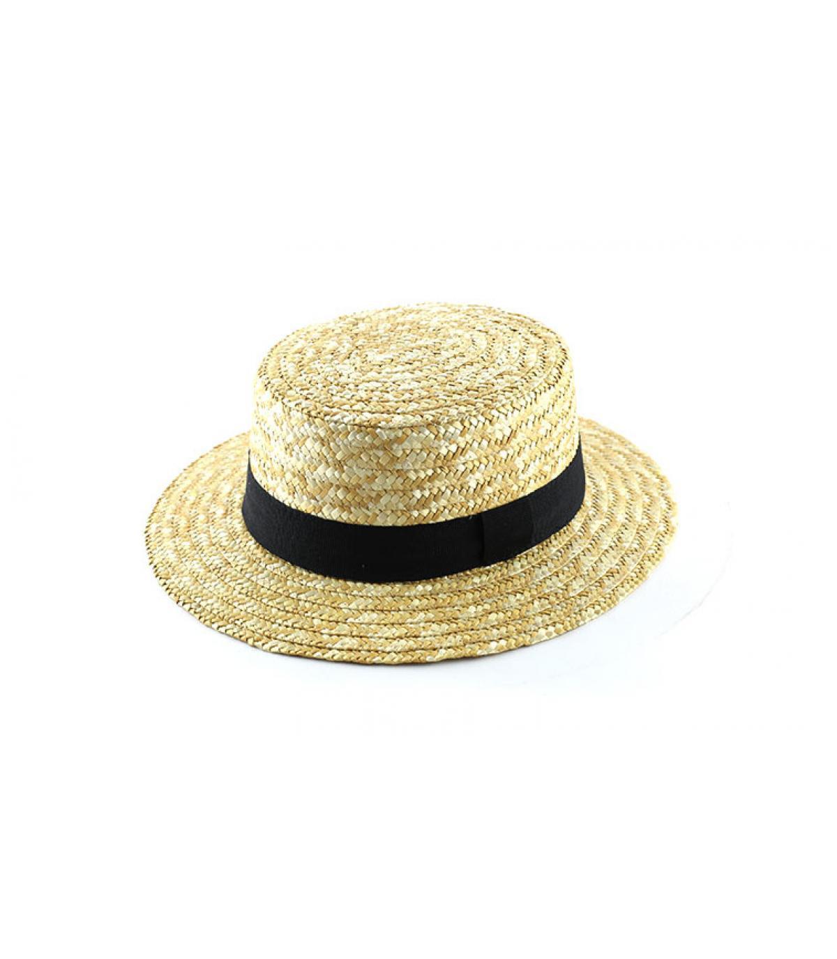 sombrero de paja de la trenza negro