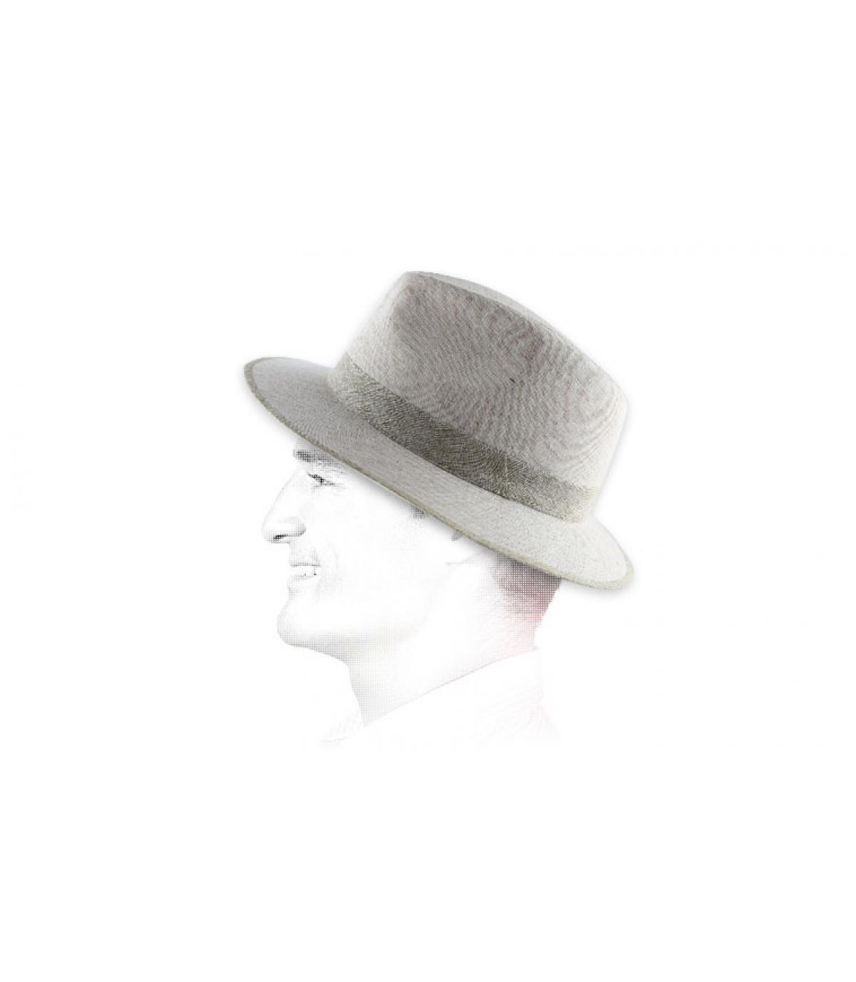 tela del sombrero blanco rayas de color beige