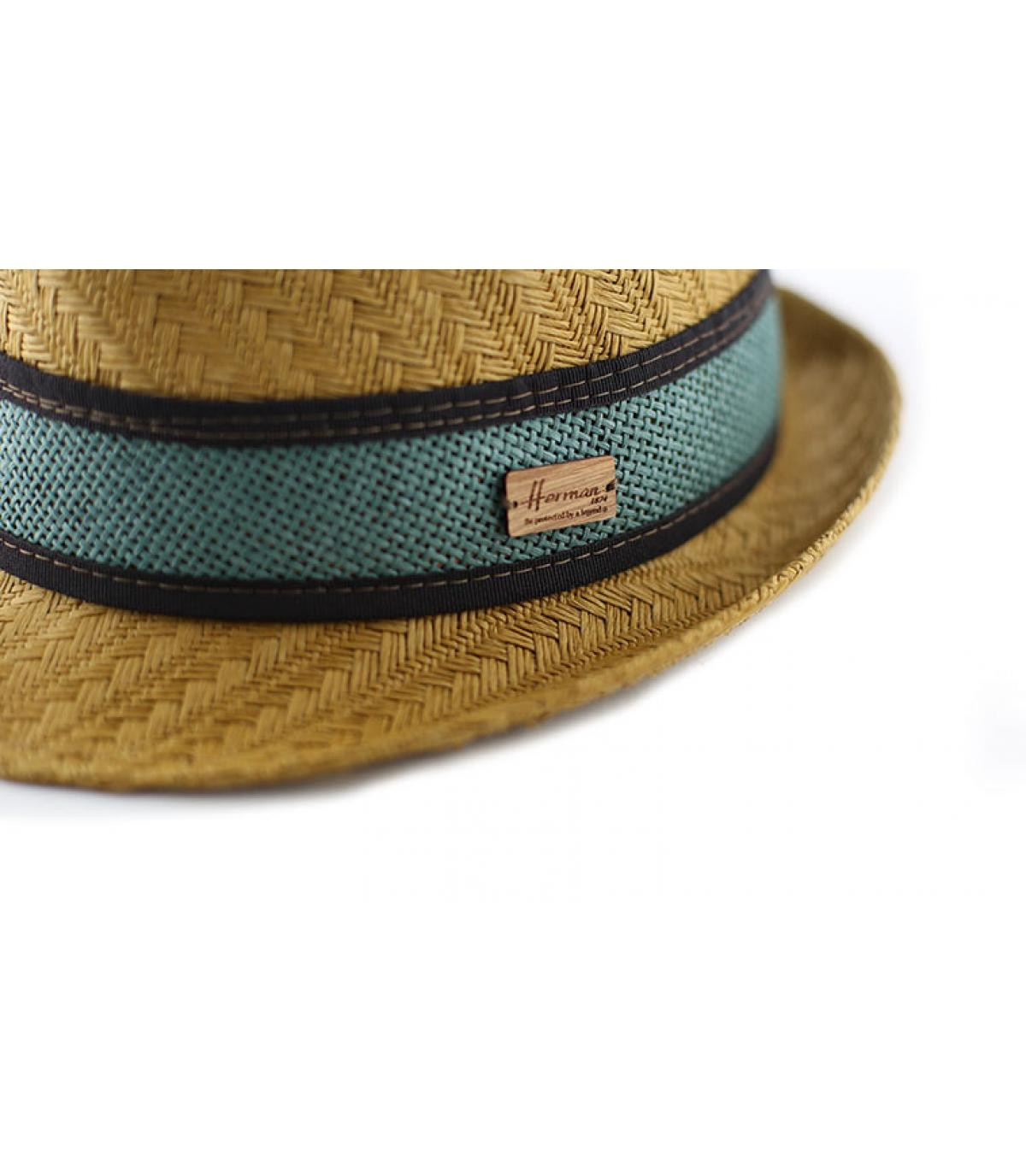 rayas azules de color beige de paja sombrero de paño