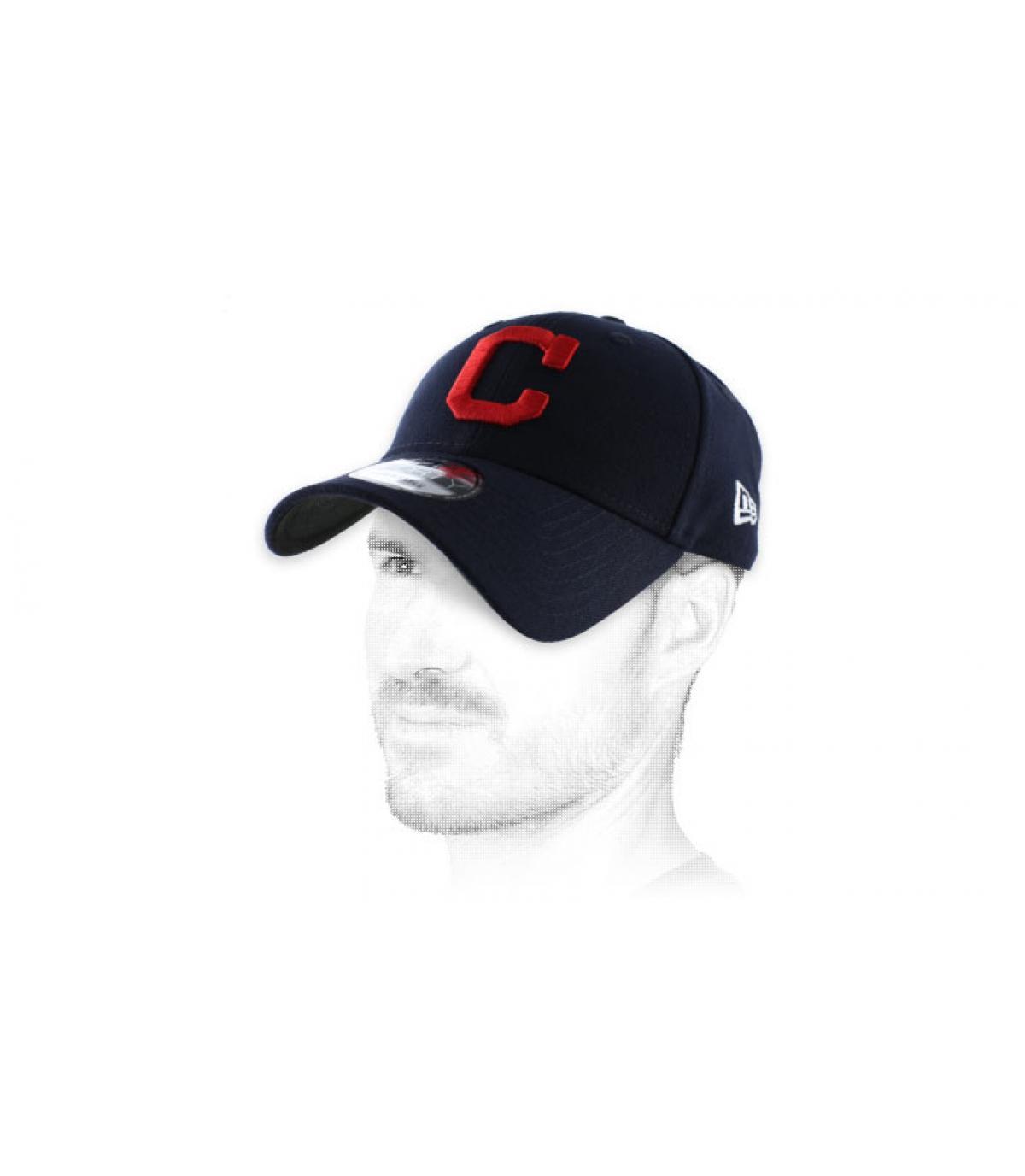 gorra azul curva roja C
