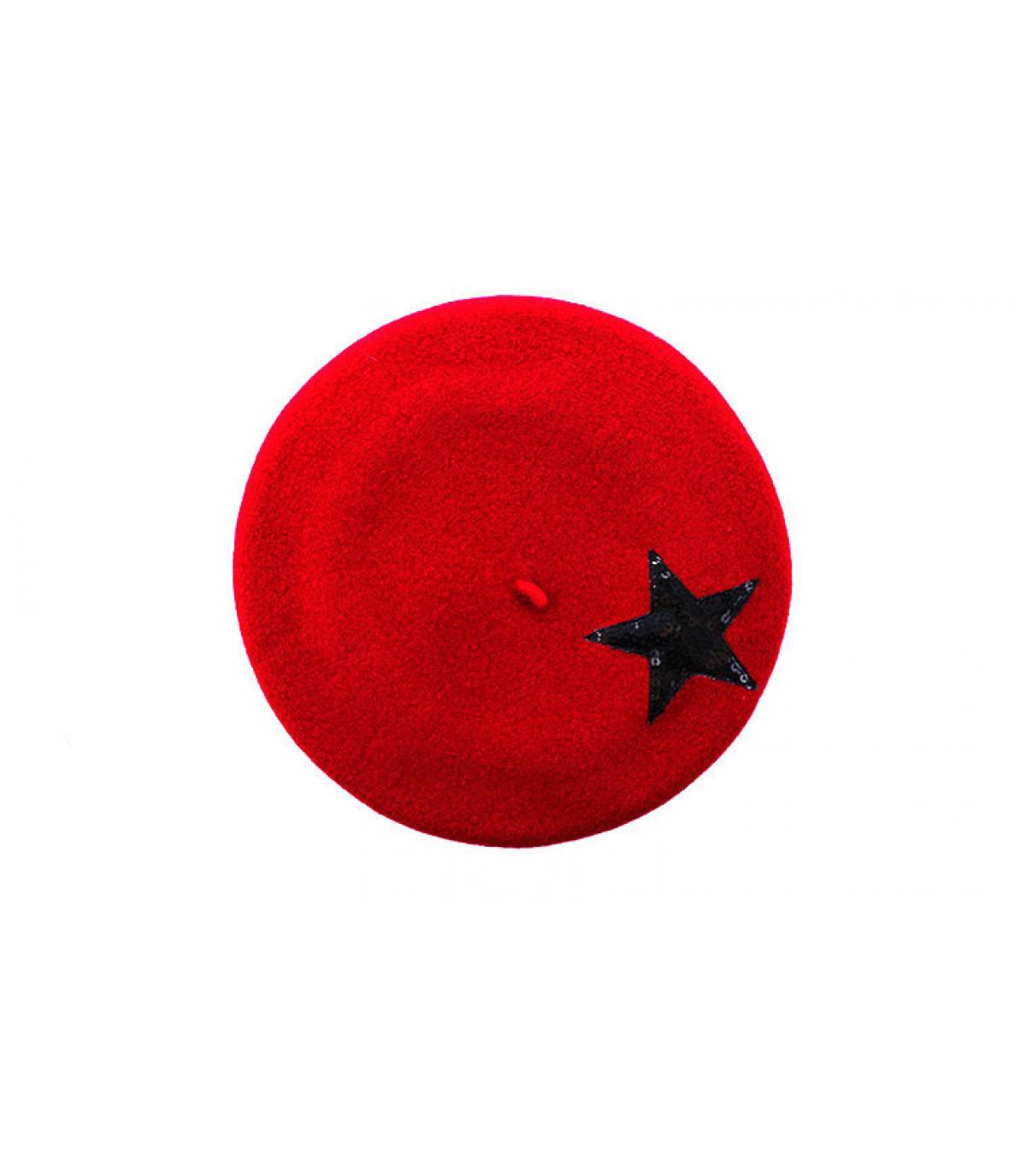estrella de la boina roja de lentejuelas