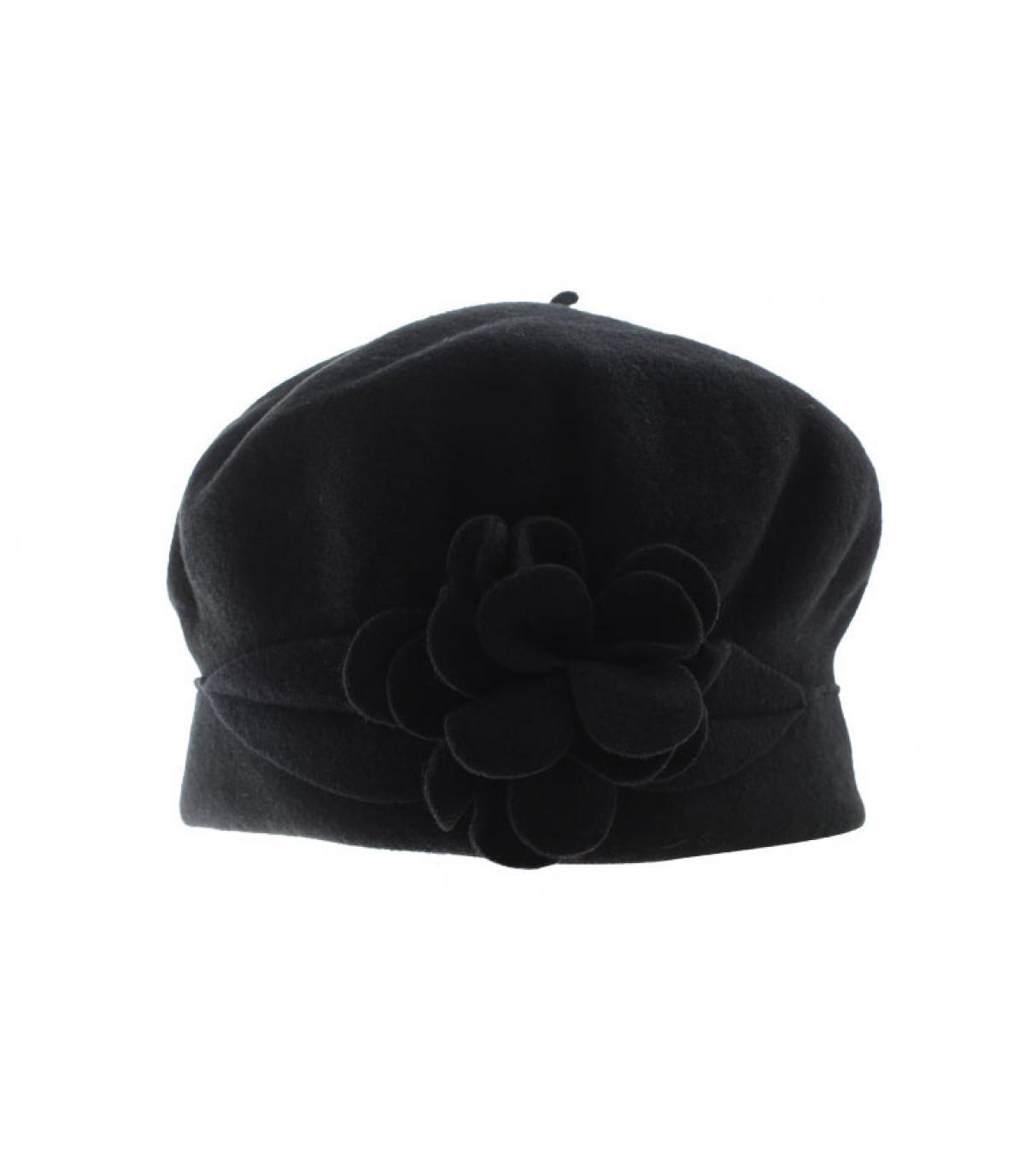 flor gorro de lana negro