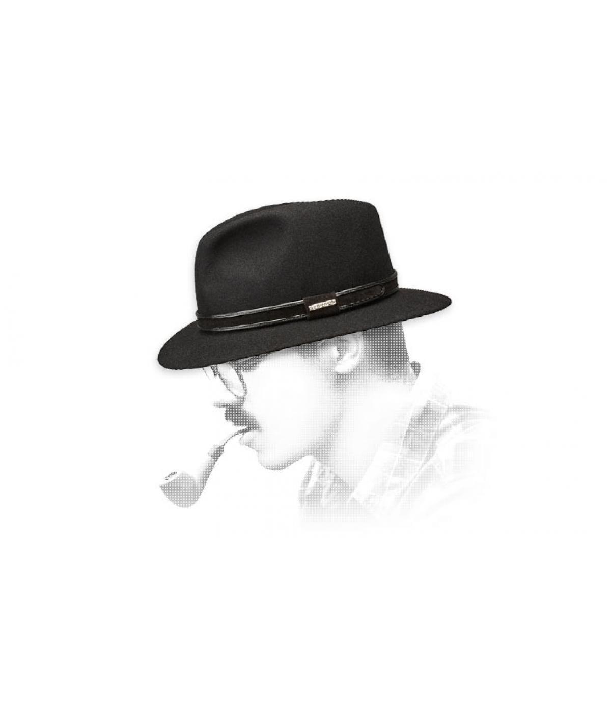 sombrero de fieltro negro de fieltro Stetson conejo