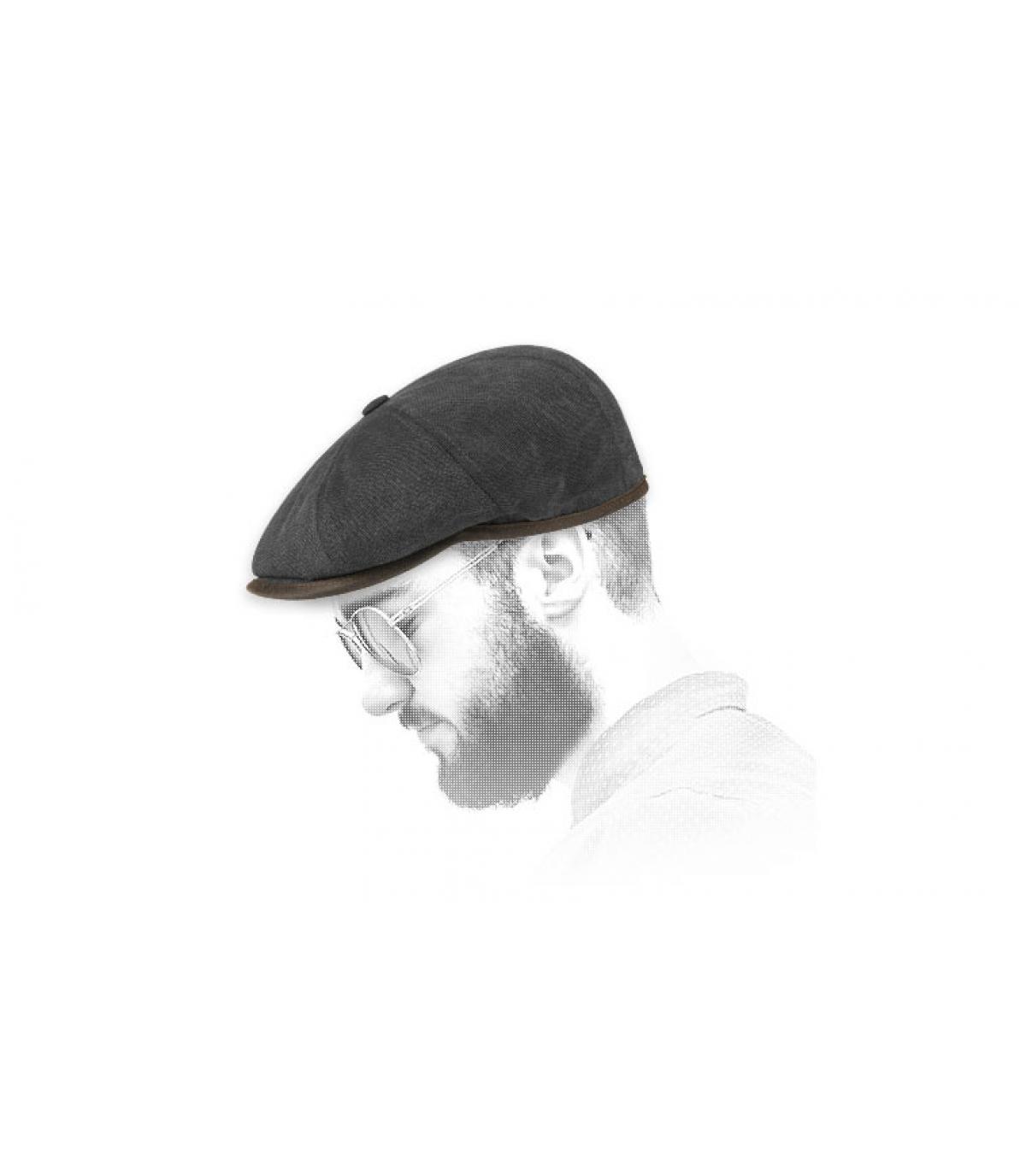 algodón negro tapa newsboy