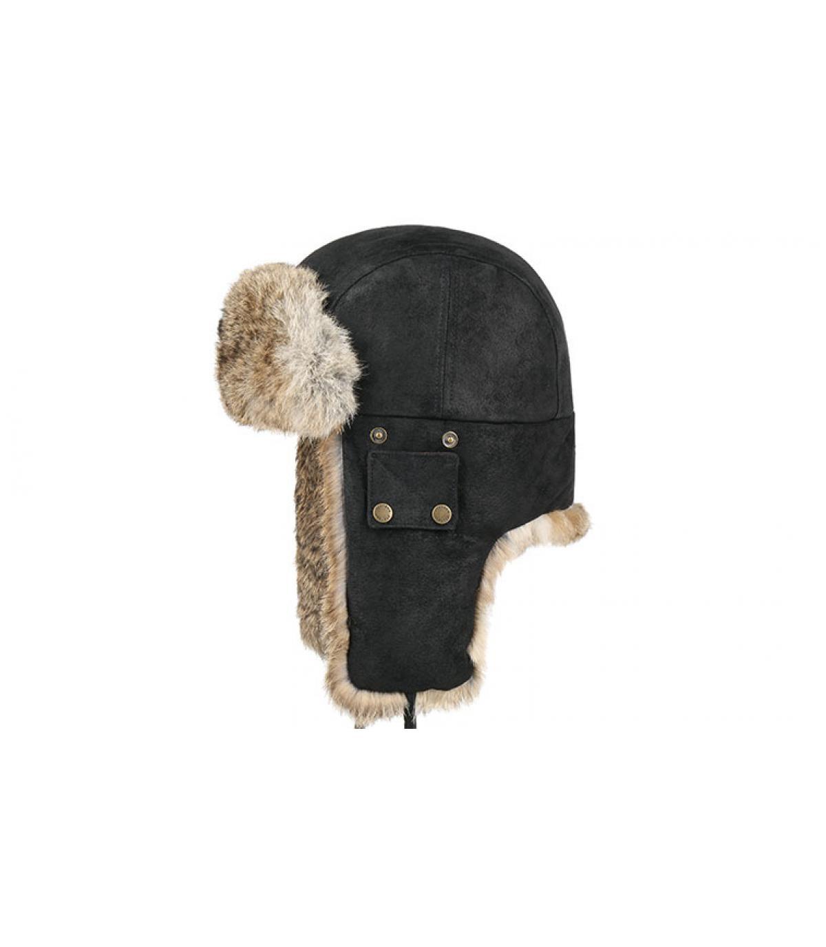 sombrero de piel de cuero negro