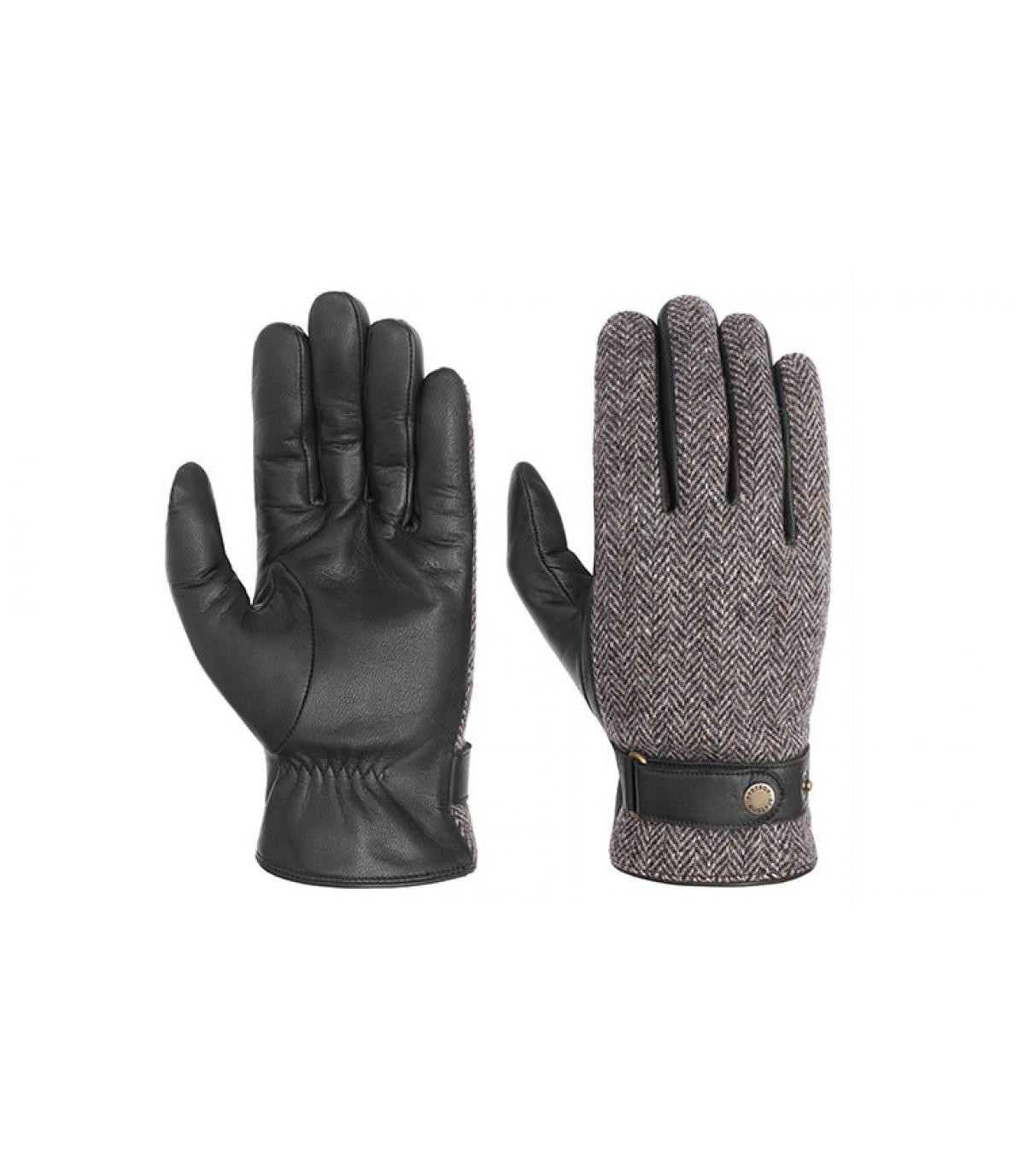 guantes de cuero y tweed Stetson