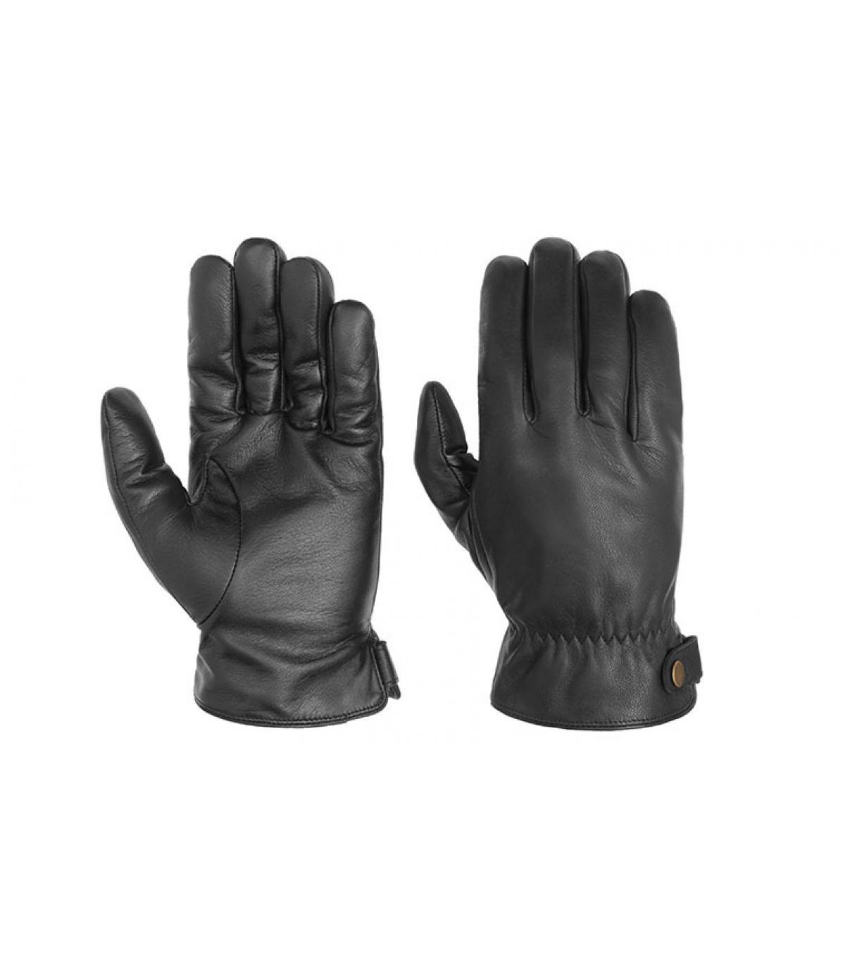 guantes de cuero negro tocan Stetson