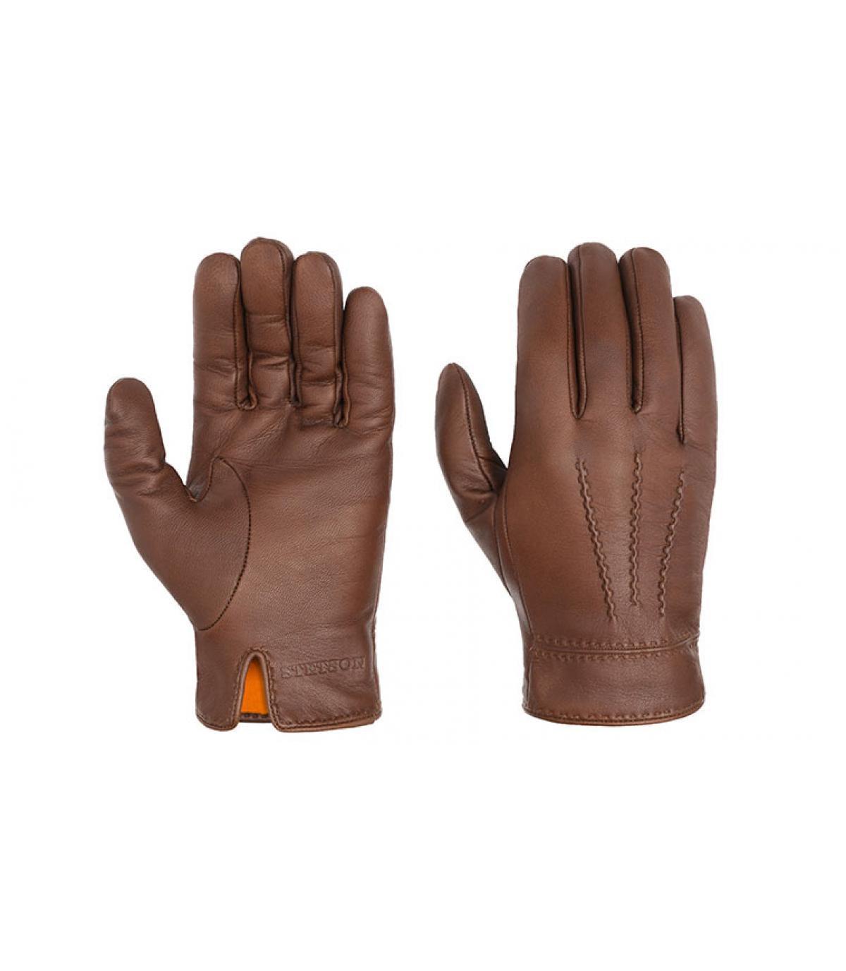 Brown guantes de cuero Stetson