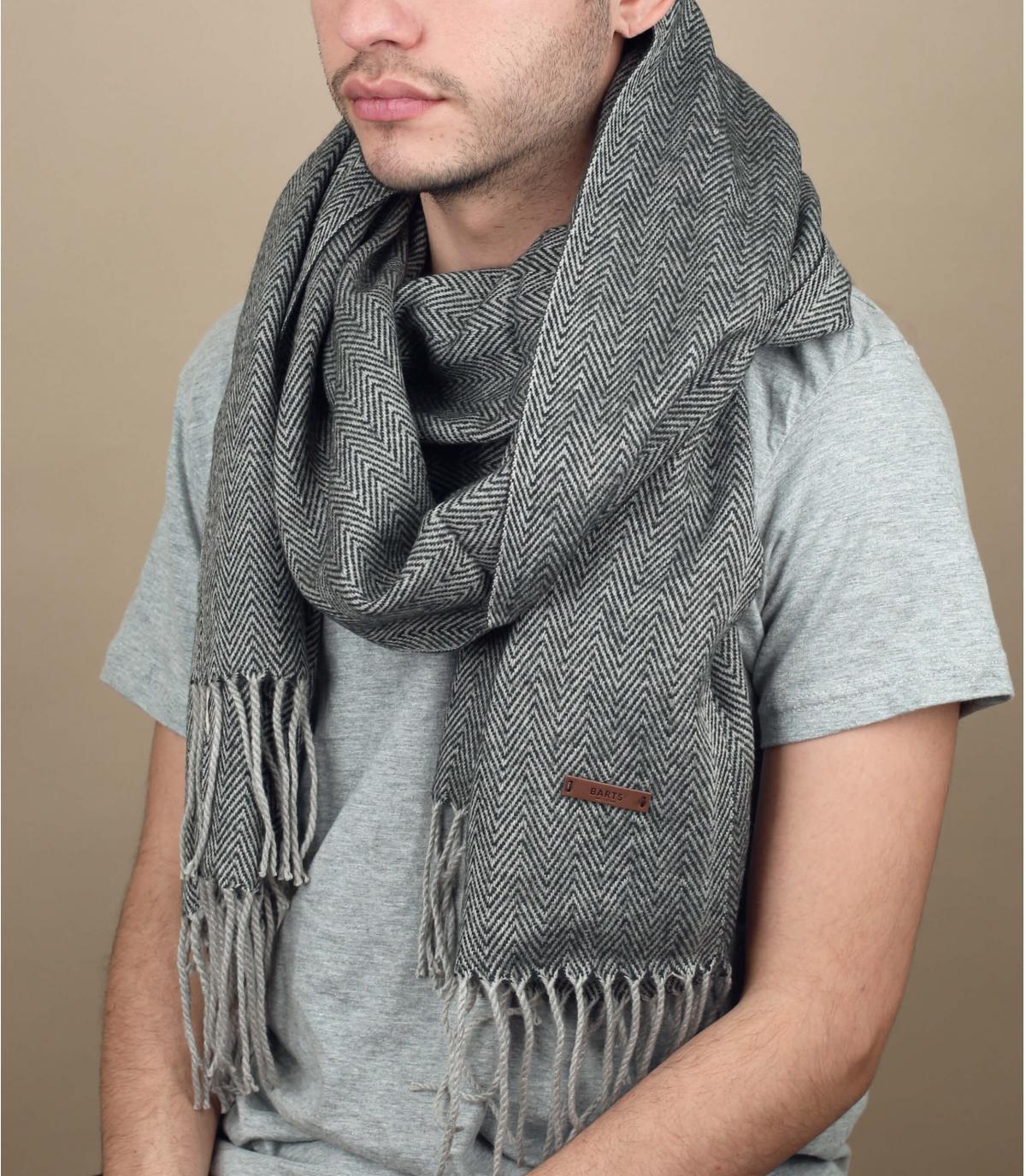 bufanda con flecos gris unida