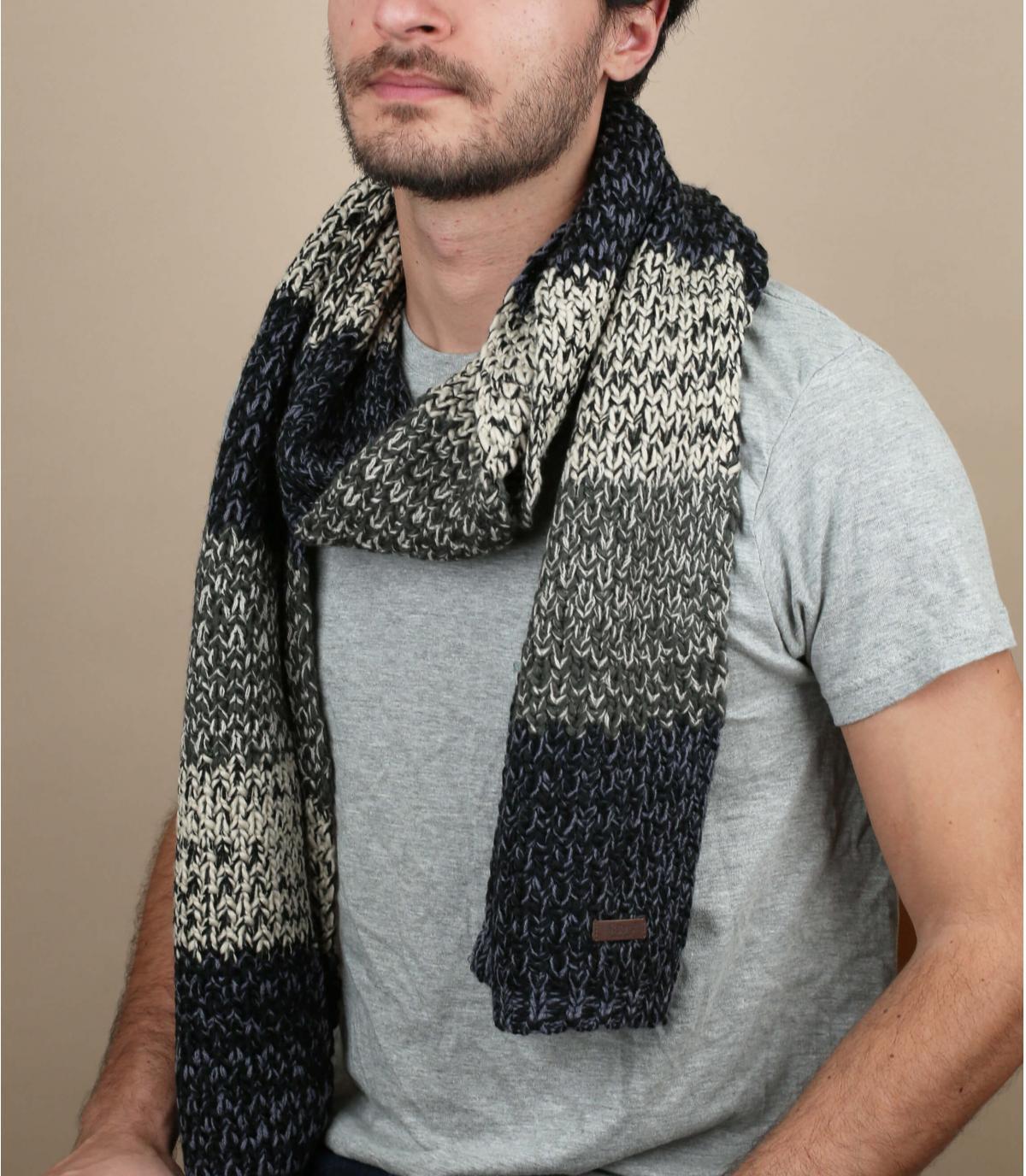 negro bufanda de rayas gris