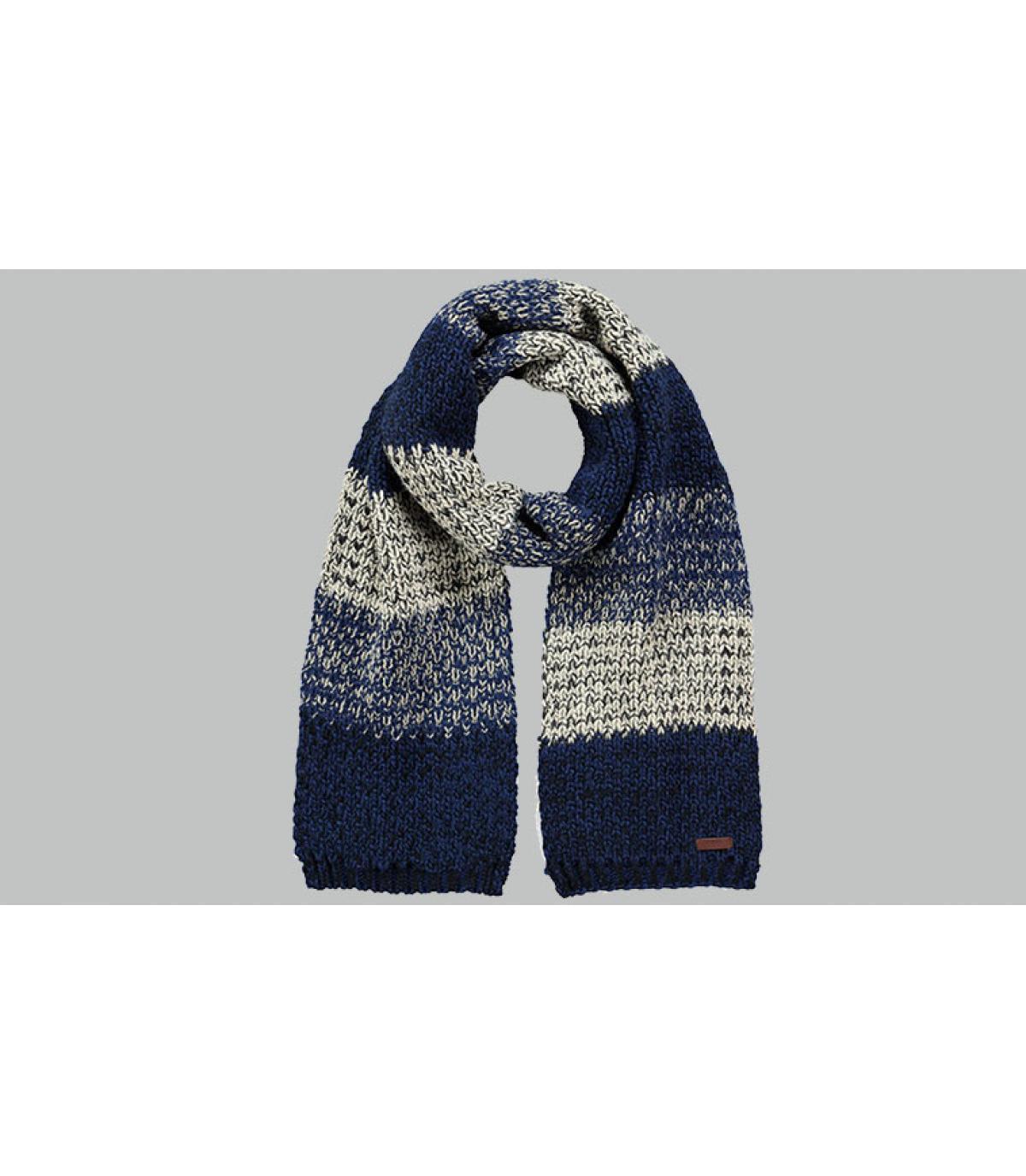 bufanda de rayas azules grises
