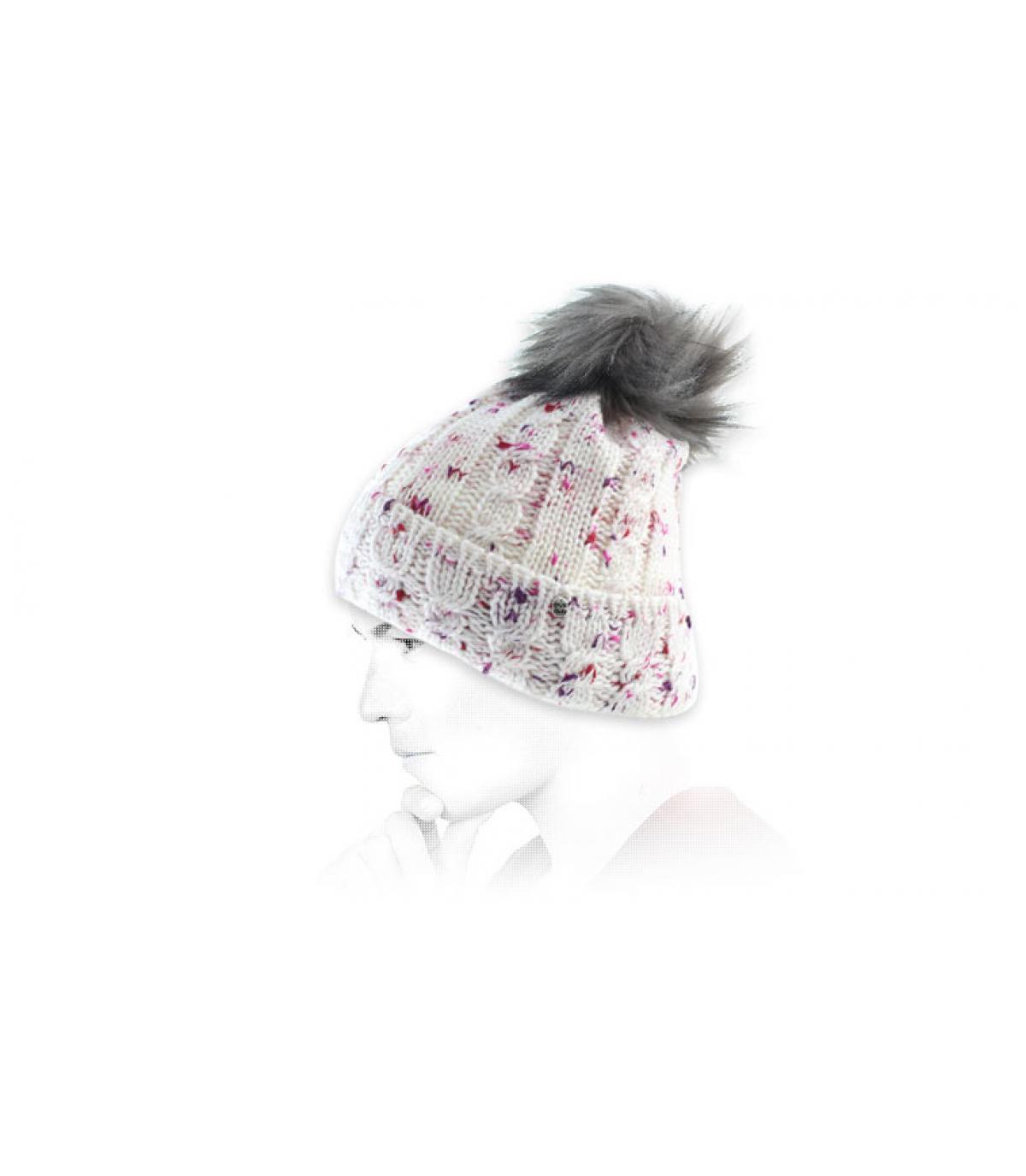 gorro borla rosa blanca