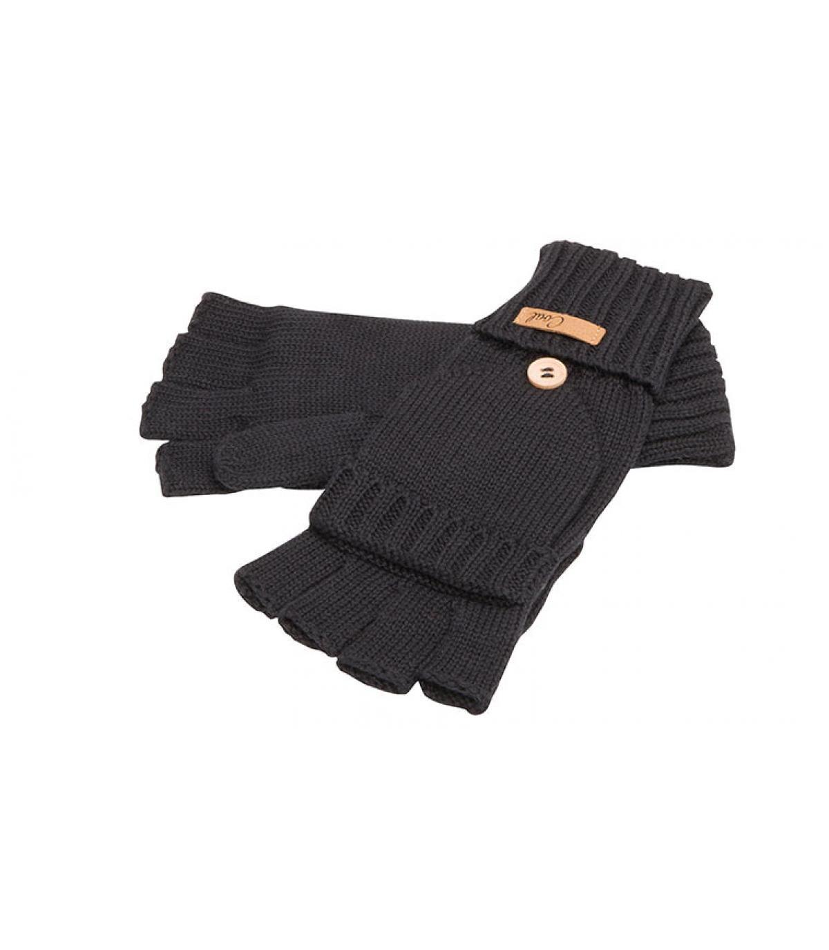 mitones guantes negros