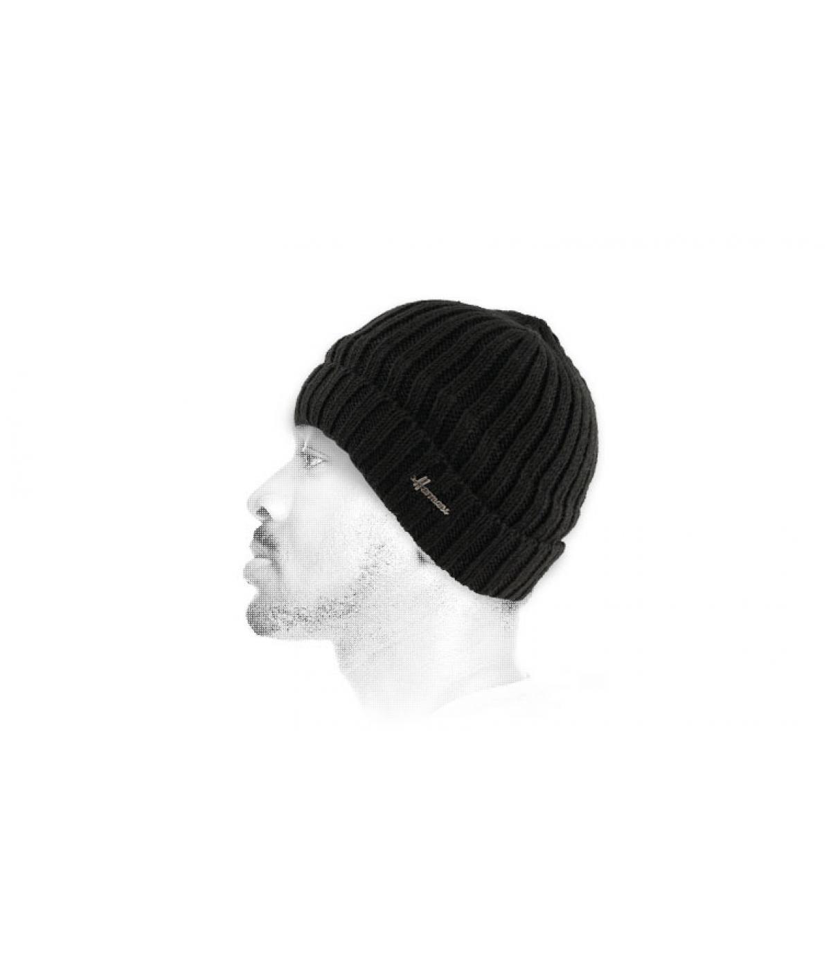 sombrero de la solapa de lana negro