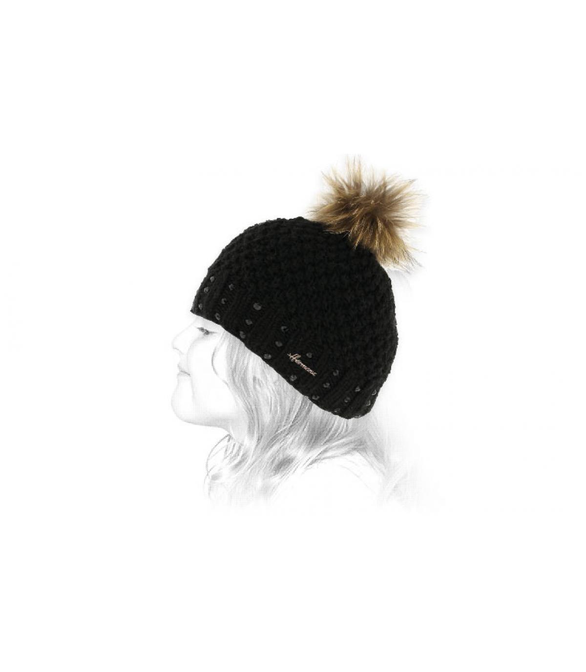 gorro negro de la piel del niño pompón