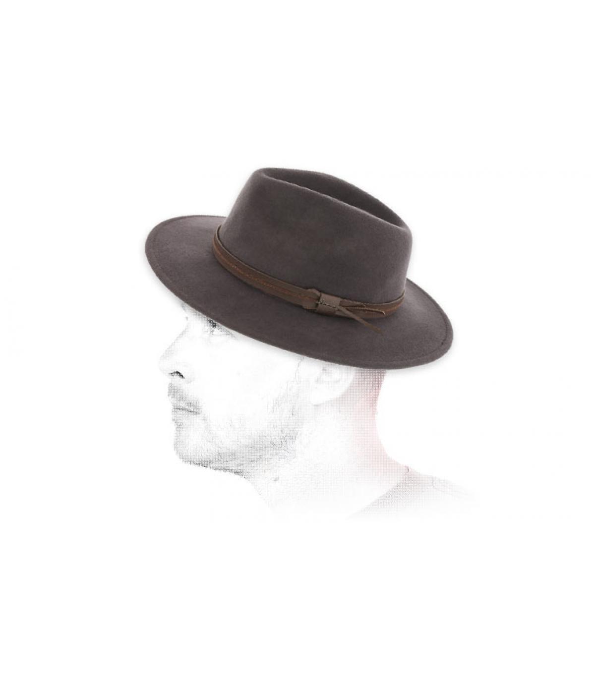sombrero de fieltro gris laine Herman