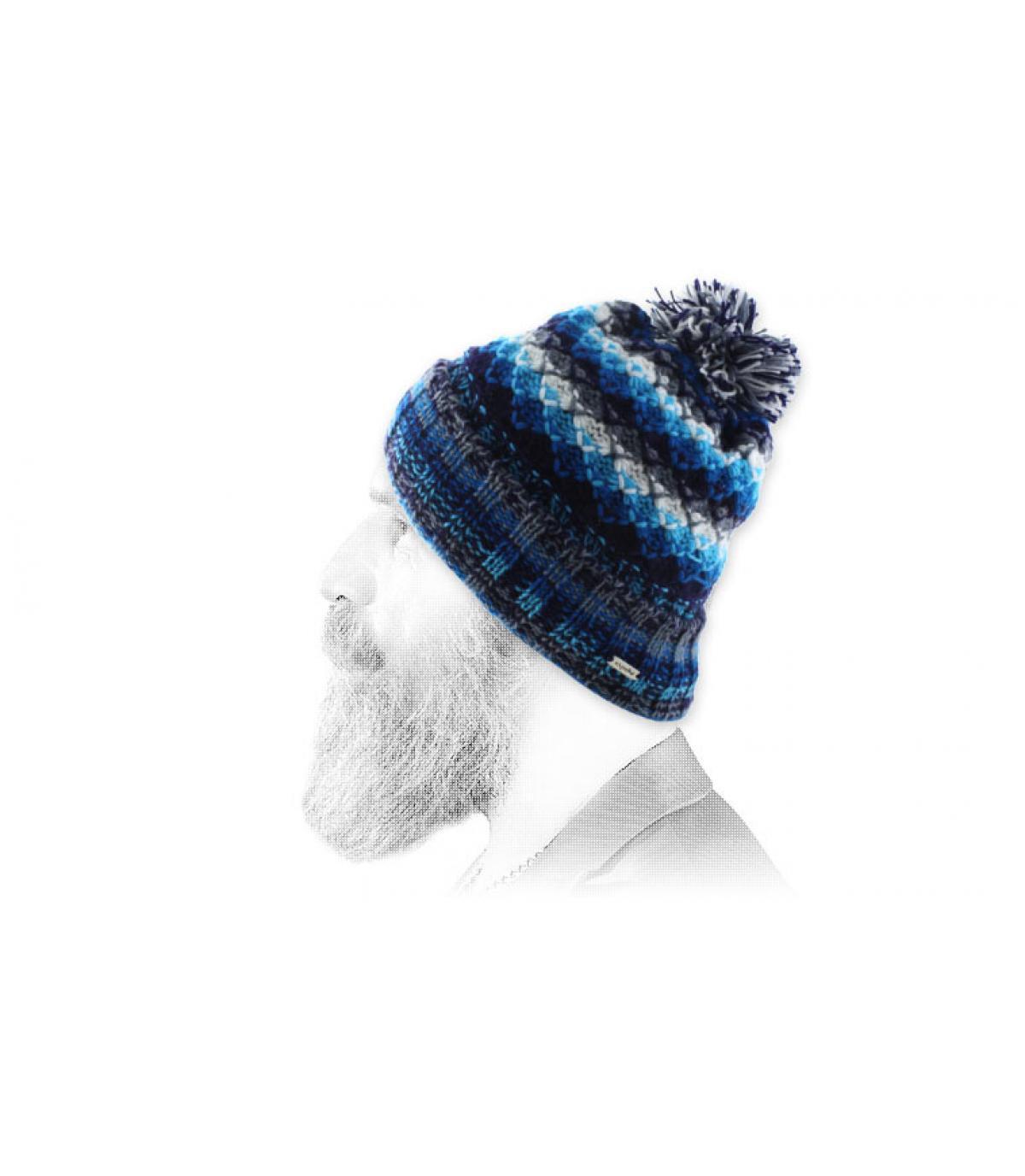 blanco azul borla gorro